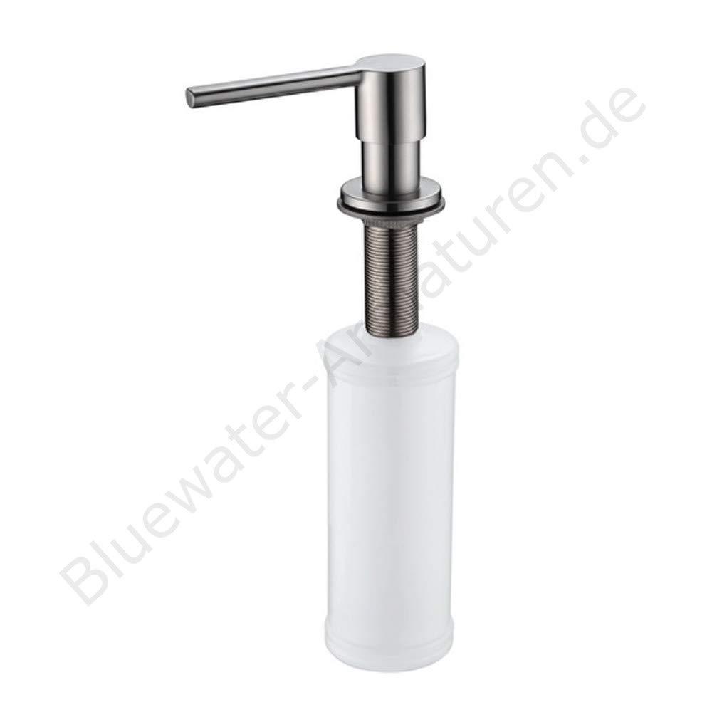Art Platino Premium Seifenspender Küche Rund Edelstahl Massiv INOX , Einbau Seifenspender für Spüle , Wasserhahn , Küchenarmatur , Küchenspüle Spender , Spülmittelspender , Dispenser , Spültisch Seifenspender