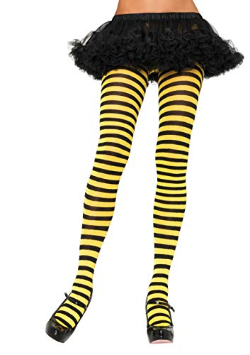 Leg Avenue Women's Nylon Striped Tights, Black/yellow, One Size -