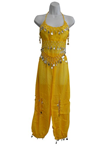 [Professional Belly Dance Multi-Color Genie Belly Dance Costume for Women Halloween Costumes of Adults Hot Belly Dancer Skirt Yellow Set w/ Silver] (Genie Costumes For Teens)