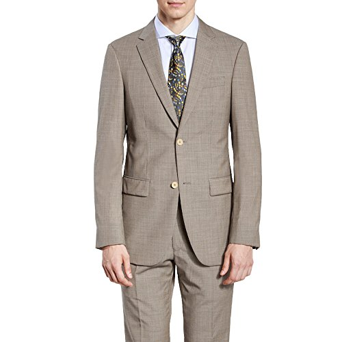 HBDesign Mens 2 Piece 2 Button Peak Lapel Business Formal Suits Light Khaki 48R by HBDesign (Image #6)