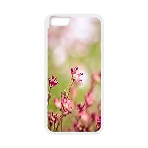 Yearinspace Bokeh Flowers IPhone 6 Case Pink Flowers Bokeh for Boys, Case for Iphone 6 4.7 for Boys [White]