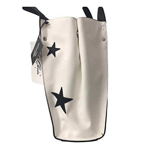 LA CARRIE BAG borsa shopping bianca / multicolor BAG RIGHE SHOPPING 171-R-970-EP