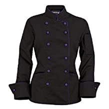 Long Sleeves Women's Ladies Chef's Coat Jackets with Contrast Buttons
