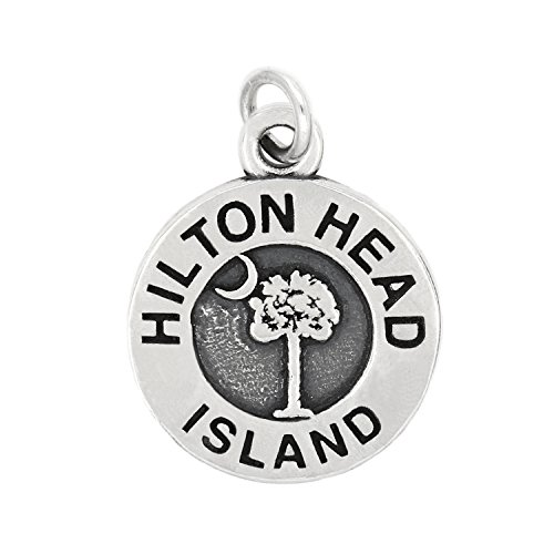 Hilton Head Charm (Sterling Silver Oxidized Travel Hilton Head Island South Carolina Charm Pendant (Charm))