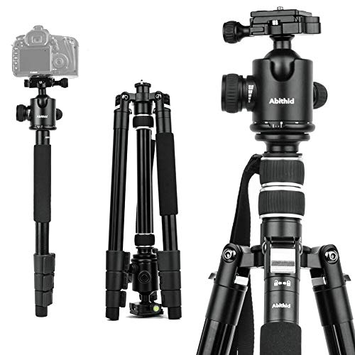 Travel Camera Tripod, Abithid 65' Portable and Compact Aluminum DSLR Monopod Tripod with 360°Panorama 36 mm Ball Head 1/4 Quick Release Plate for Travel and Work