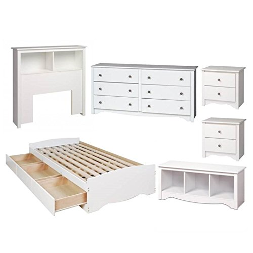 Home Square 6 Piece Kids Bedroom Set with 2 Nightstands, Twin Bed, Dresser, and Headboard in White