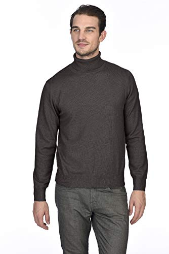 (State Cashmere Men's 100% Pure Cashmere Turtleneck Long Sleeve Pullover Sweater (Medium, Black Coffee))