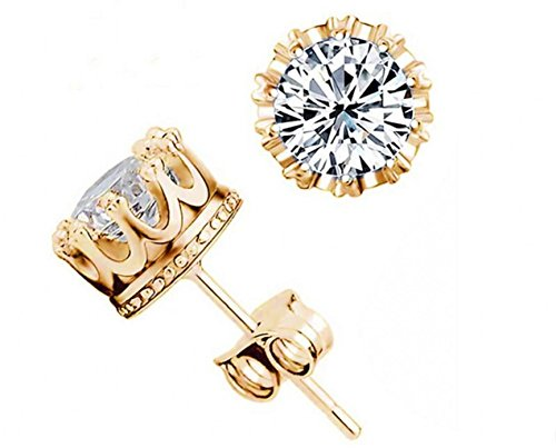 Shally Women's 18K Gold Plated Round Cubic Zirconia Stud Earrings