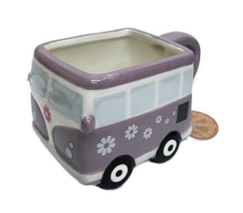 Cute Whimsy Hippy Peace Van Novelty Ceramic 16 oz Coffee Tea Coco Drink Mug (Purple) (Van Hippy)