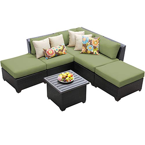 HomeRoots 6 Piece Outdoor Wicker Patio Furniture Set 06f - Cilantro, Made of PE Resin with Powder Coated Aluminum Finish