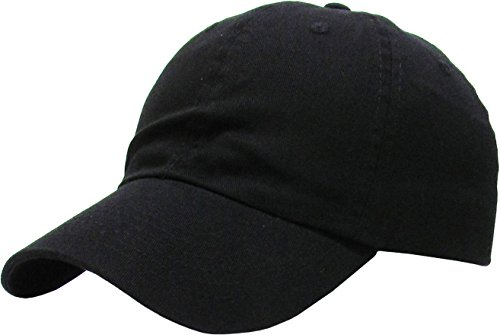 KB-LOW BLK Classic Cotton Dad Hat Adjustable Plain Cap. Polo Style Low Profile (Unstructured)