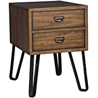 Signature Design By Ashley T762-7 CENTAIR Chair Side End Table In a Warm Brown Finish