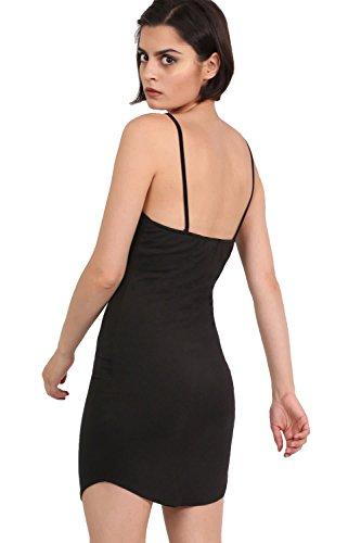 PILOT® bodycon básica de tirantes mini vestido dobladillo curvo negro