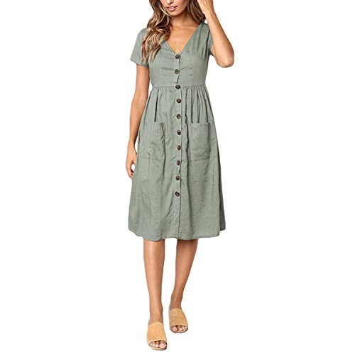 Simple Neck Boutonnage Dress Beach Vintage High Green Ligne V Manches Sexy Femmes Waist Courtes A atx1HH