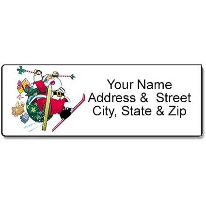 amazon com skiing santa address label christmas customized