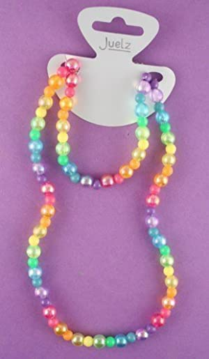 Rainbow Beaded Necklace & Bracelet set, 1 set supplied by girls party bag fillers