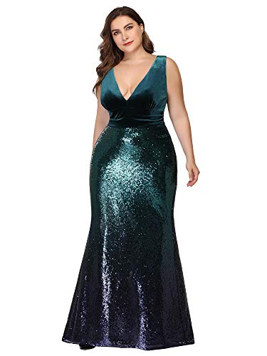 Ever-Pretty Womens Plus Size Double V-Neck Sexy Evening Dinner Party Dress for Women Green US 18