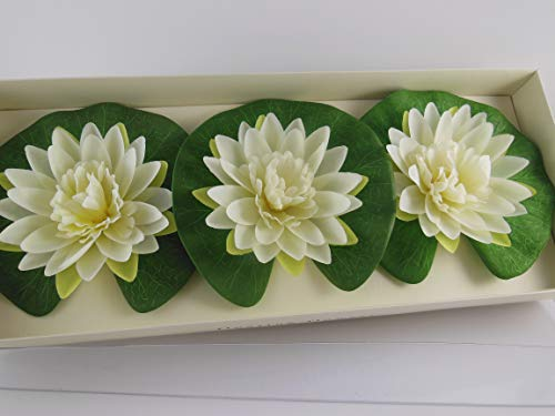 (Pier 1 Imports Set of 3 Floating Flowers for Pool or Water Garden Lotus Flowers on Lily Pad)