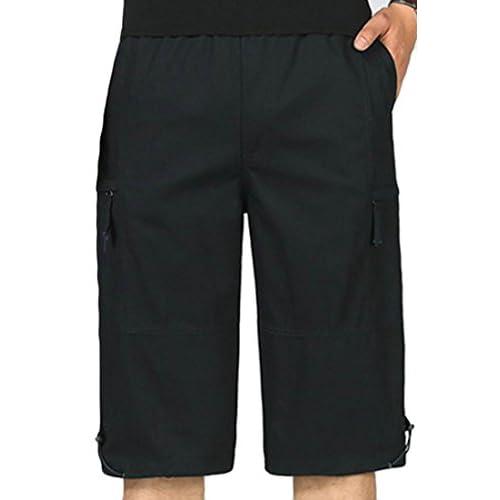 822c1c27e4b X-Future Mens Elastic Waist Multi Pockets Cotton Plus Size Cargo Shorts  70%OFF