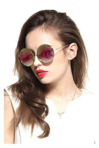 (Gee-Look Oversized Round Circle Mirrored Hippie Hipster Sunglasses - Metal Frame (Pink, as)