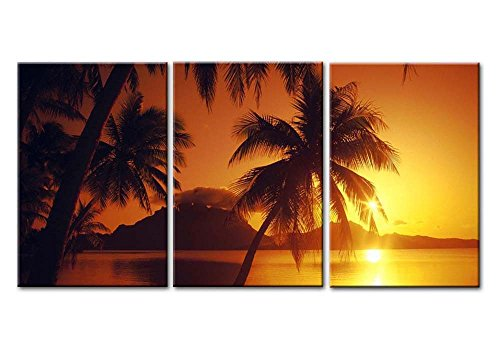 Bora Bora Framed - Canvas Print Wall Art Painting For Home Decor Beach Sunset At Bora Bora Tahiti Borabora Sunset In French Polynesia Seascape Of Brilliant Ocean Beach Sunrise With Tropical Palm Trees 3 Pieces Panel Paintings Modern Giclee Stretched And Framed Artwork The Picture For Living Room Decoration Seascape Pictures Photo Prints On Canvas
