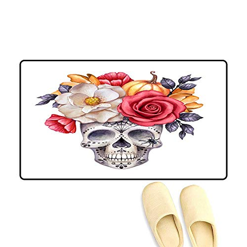Floor Mat Pattern Watercolor Illustration Halloween Floral Skull Fall Flowers Autumn Pumpkin Dia de Los Muertos Festive Clip Art Isolate -