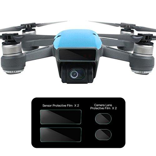 O'woda 4pcs/set Glass Fiber Film Anti-scratch Protector: 2pcs Camera Lens Glass Film + 2pcs Drone Body Screen Film Protective with Storage Box for DJI SPARK