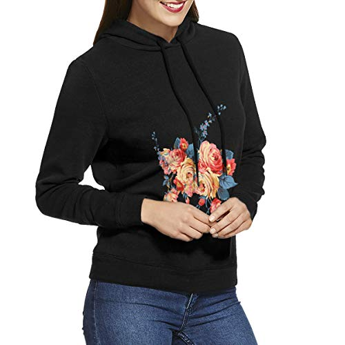 (Comic Papillon and Flowers Womens Hoodie Sweatshirt Pullover)