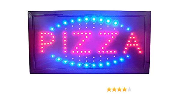 Letrero luminoso a led con texto Pizza 48 x 25 x 2 cm