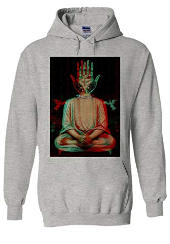 Traditional Buddha Trippy Yoga Hand Novelty Grey Men Women Unisex Hooded Sweatshirt Hoodie-L (Mens Buddha Sweatshirt)