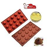 CYCTECH 15 Grid Half Ball Shape Silicone Mould DIY Chocolate Cupcake Cake Muffin Baking Mold (Coffee)