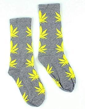 Calcetines Weed marihuana diseño gris con hojas amarillas: Amazon.es: Hogar