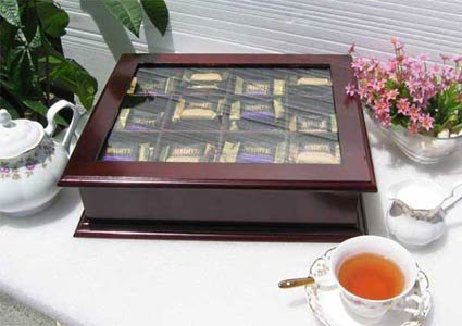(Large Tea Bag Chest Cabinet/Tea Bag Storage Box, Solid Wood (Mahogany Finish) )