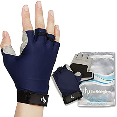 Fishing Gloves for Men & Women, Certified UPF 50+ UV Sun Protection, Half Finger Glove Kayaking, Paddling, Sailing, Driving, Rowing, Hiking, Fingerless, Free of Chemicals, Machine Washable, XL to XS