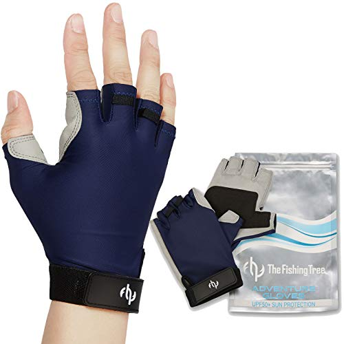 Fingerless Gloves for Men & Women, Certified UPF 50+ UV Sun Protection, Half Finger Glove UV Sun Block, for Kayak, Fishing, Paddling, Sailing, Rowing, Hiking, Free of Chemicals, Machine Wash, Gifts