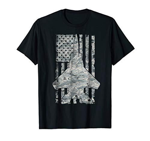 F-15 Eagle Jet Airplane ABU Camouflage Vintage Flag T-shirt