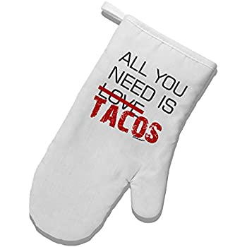 TOOLOUD All You Need is Tacos White Printed Fabric Oven Mitt