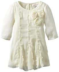 Mimi & Maggie Baby Girls' Three Roses Dress, Natural, 12 Months