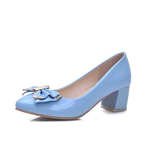 VogueZone009 Damen Mittler Absatz Rein Ziehen auf Spitz Schließen Zehe Pumps Schuhe Himmelblau