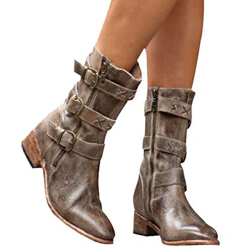 Antidérapant En Automne Boots Talon Femme Casual Streetwear Kaki Rétro Bloc Mode 34 Eclair Chaussures Cuir 1 Hiver Bottine Fermeture Bottes Femmes 43 ZzxqAYx
