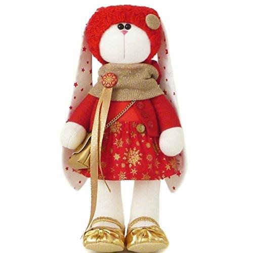 Fabric doll girl 14,5 inch, rabbit plush bunny