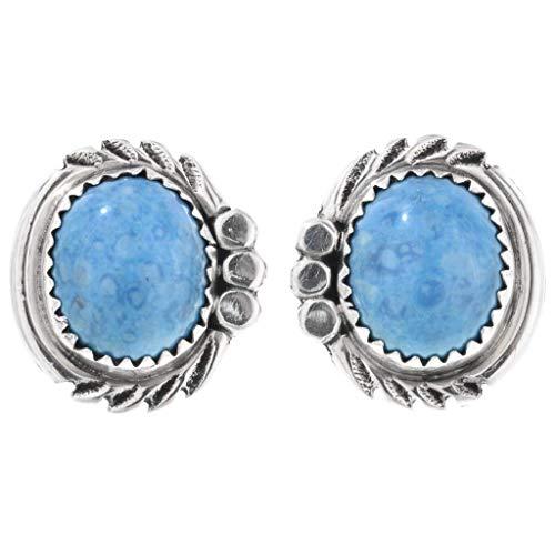 Denim Lapis Silver Post Earrings Studs by Navajo Delores Cadman 0149