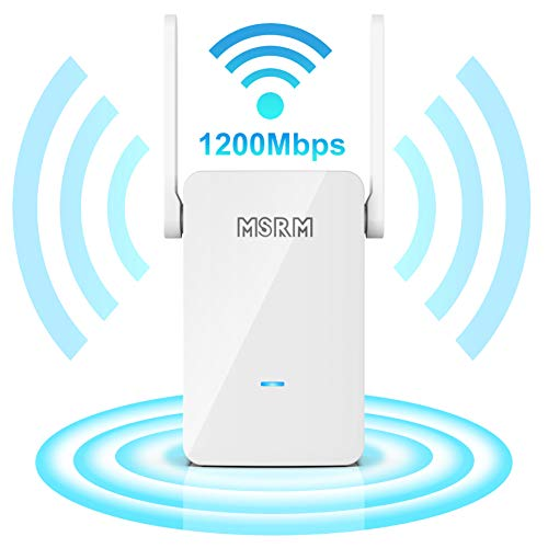 WiFi Range Extender, Up to 1200Mbps   2.4GHz and 5.8GHz Dual Band, Repeater, Internet Booster, Access Point with 4 Antennas 2 Ethernet Ports   Extend WiFi Signal to Smart Home (Black-Y)