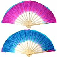 Dual Color Silk Bamboo Folk Dance Fan Chinese Handmade Belly Dancing Fans