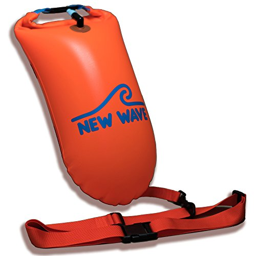 New Wave Swim Buoy - Swim Safety Float and Drybag for Open Water Swimmers, Triathletes, Kayakers and Snorkelers, Highly Visible Buoy Float for Safe Swim Training (Orange PVC Medium-15L)