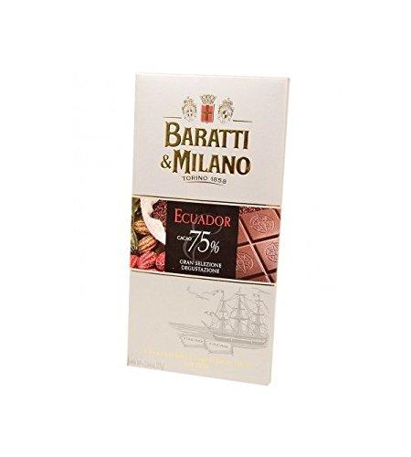 Baratti & Milano - TABLETA DE CHOCOLATE NEGRA GRAN ECUADOR SIN PROCESAR 75% DE CACAO