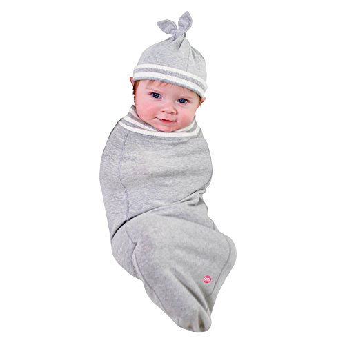(Cozy Cocoon Baby Cocoon Swaddle and Matching Hat, Heather Gray, 0-3 Months)