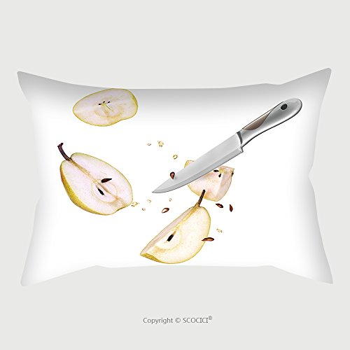 Custom Microfiber Pillowcase Protector Knife And Pear Cut In Half Are Frozen_491601380 Pillow Case Covers Decorative