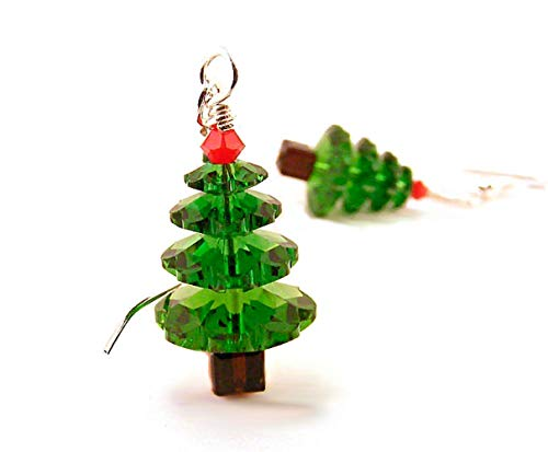Christmas Tree Earrings made with Crystals from Swarovski Silver Toned Ear Wires ()