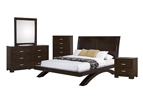 Abbey Avenue B-CAR-K5P 5 Piece Cardinal Platform Bedroom Set, King, Savory Espresso - Espresso 5 Piece Platform